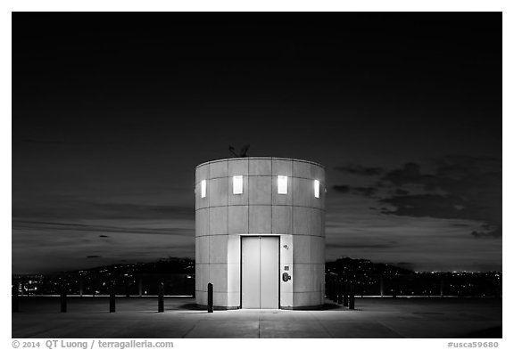 Elevator tower at night, Griffith Observatory. Los Angeles, California, USA (black and white)