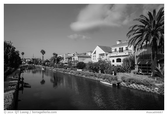 Residences, Venice Canal Historic District. Venice, Los Angeles, California, USA (black and white)