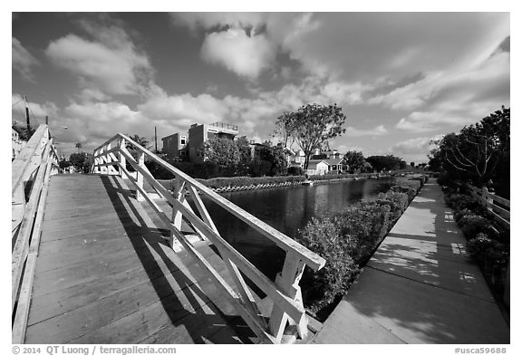 Bridge and walkway, Venice Canal Historic District. Venice, Los Angeles, California, USA (black and white)