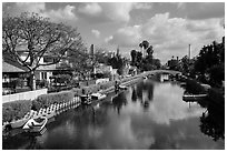 Venice Canal Historic District. Venice, Los Angeles, California, USA ( black and white)