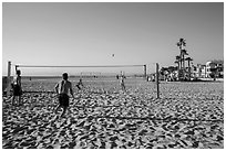 Beach volleyball, Hermosa Beach. Los Angeles, California, USA ( black and white)