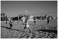 People playing volleyball on beach, Hermosa Beach. Los Angeles, California, USA ( black and white)