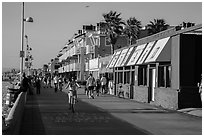 Beachfront promenade, Hermosa Beach. Los Angeles, California, USA ( black and white)