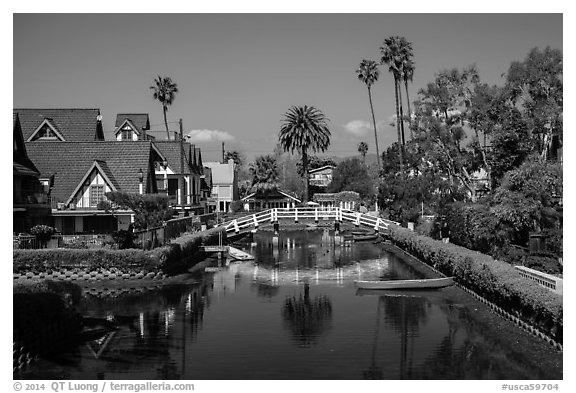 Bridge spanning canals. Venice, Los Angeles, California, USA (black and white)