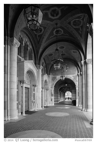 Gallery in Romanesque Revival style original building, UCLA, Westwood. Los Angeles, California, USA (black and white)