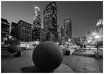 Pershing Square and skyscrappers at dusk. Los Angeles, California, USA ( black and white)
