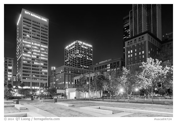 Pershing Square at night. Los Angeles, California, USA (black and white)