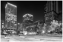 Pershing Square at night. Los Angeles, California, USA ( black and white)