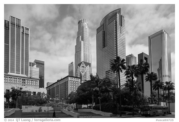 Skyscrappers around Pershing Square. Los Angeles, California, USA (black and white)