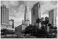 Skyscrappers around Pershing Square. Los Angeles, California, USA ( black and white)