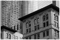 Stone and glass buildings in downtown. Los Angeles, California, USA ( black and white)