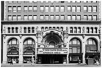 Downtown facade with historic theater. Los Angeles, California, USA ( black and white)
