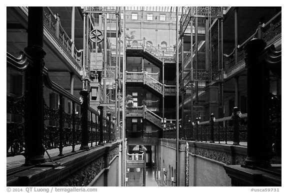 Interior of Bradbury Building. Los Angeles, California, USA (black and white)