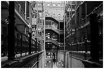 Interior of Bradbury Building. Los Angeles, California, USA ( black and white)