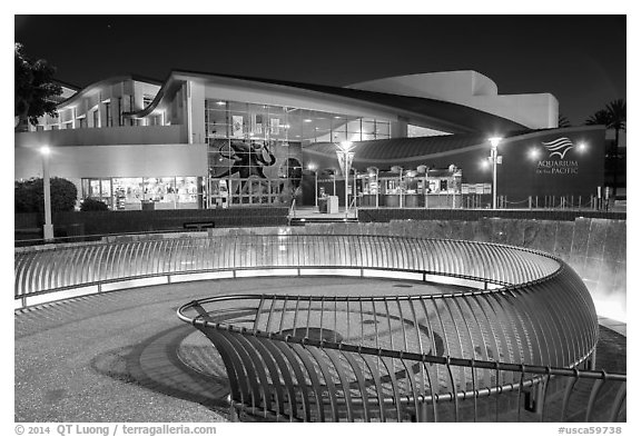 Aquarium of the Pacific facade at night. Long Beach, Los Angeles, California, USA (black and white)