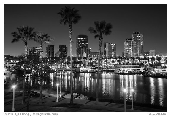 Skyline at harbor at night. Long Beach, Los Angeles, California, USA (black and white)