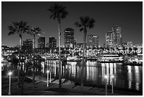 Skyline at harbor at night. Long Beach, Los Angeles, California, USA ( black and white)