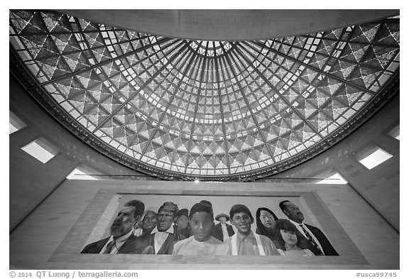 City of Dreams by Richard Wyatt and Dome, Union station. Los Angeles, California, USA (black and white)