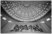 City of Dreams by Richard Wyatt and Dome, Union station. Los Angeles, California, USA ( black and white)