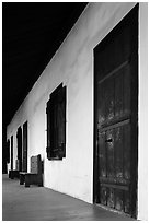 Avila Adobe doors. Los Angeles, California, USA ( black and white)