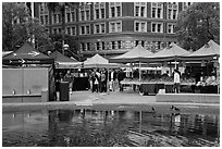 Farmers Market on Pershing Square. Los Angeles, California, USA ( black and white)