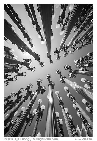Looking up iron antique street lamps LACMA art installation. Los Angeles, California, USA (black and white)