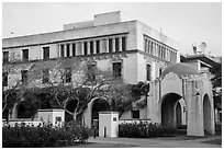 Ornate building and arch on Caltech campus. Pasadena, Los Angeles, California, USA ( black and white)