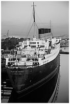 View of Queen Mary from behind and above. Long Beach, Los Angeles, California, USA ( black and white)