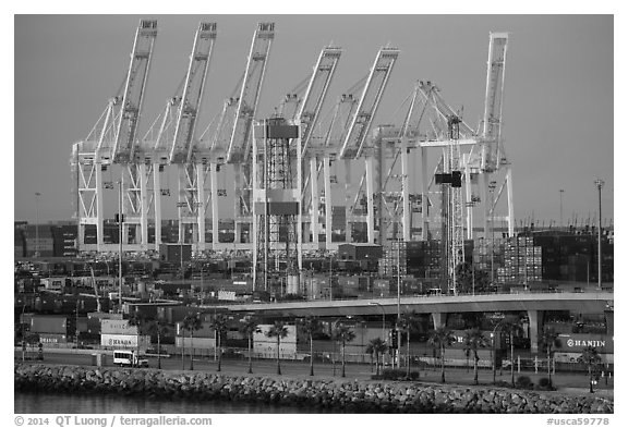 Containers and cranes in Long Beach port. Long Beach, Los Angeles, California, USA (black and white)