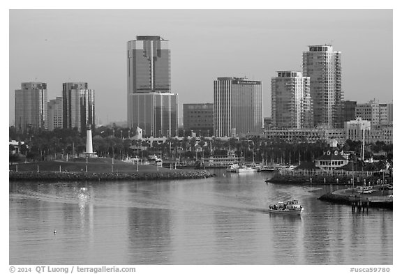 Harbor, lighthouse, and highrises. Long Beach, Los Angeles, California, USA (black and white)