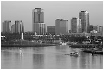 Harbor, lighthouse, and highrises. Long Beach, Los Angeles, California, USA ( black and white)