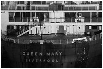 RMS Queen Mary stern. Long Beach, Los Angeles, California, USA ( black and white)