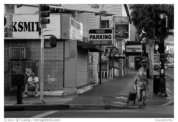 Sidewalk. Hollywood, Los Angeles, California, USA (black and white)