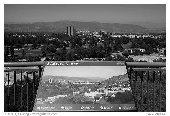Scenic view sign, Universal Studios. Universal City, Los Angeles, California, USA (black and white)