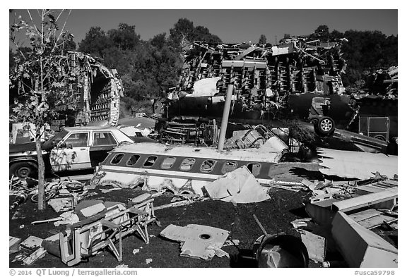 Movie set consisting of plane crash site, Universal Studios. Universal City, Los Angeles, California, USA (black and white)