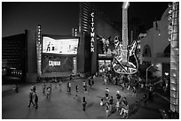 Universal Citywalk at night. Universal City, Los Angeles, California, USA ( black and white)