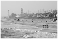 Beach and industrial facilities, Manhattan Beach. Los Angeles, California, USA ( black and white)
