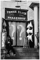 Freak Show, Ocean Front Walk. Venice, Los Angeles, California, USA ( black and white)