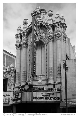 Historic Los Angeles Theater on Broadway. Los Angeles, California, USA (black and white)