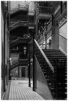 Stairs in Bradbury Building. Los Angeles, California, USA ( black and white)