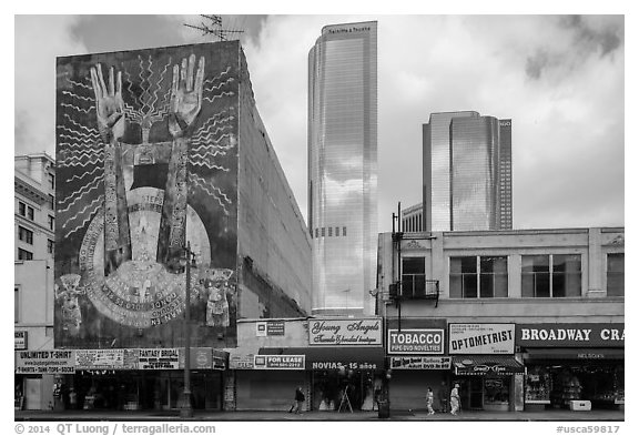 Broadway and high rises. Los Angeles, California, USA (black and white)