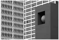 Sculpture detail and facades, Pershing Square. Los Angeles, California, USA ( black and white)