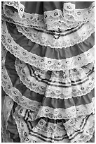 Detail of dresses with Mexican colors, El Pueblo. Los Angeles, California, USA ( black and white)