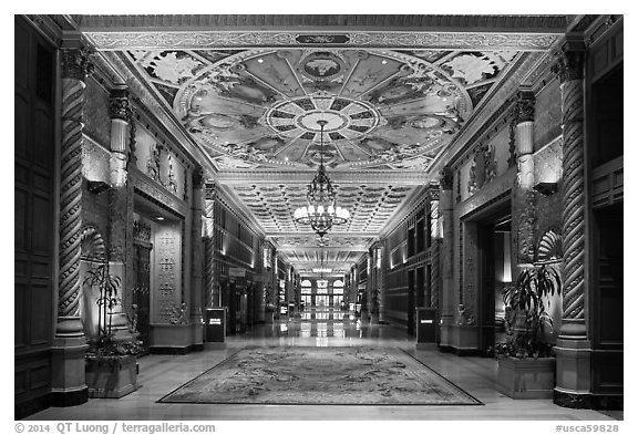 Millenium Biltmore Hotel interior. Los Angeles, California, USA (black and white)