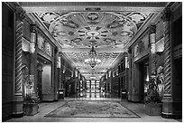 Millenium Biltmore Hotel interior. Los Angeles, California, USA ( black and white)