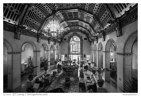 Millenium Biltmore Hotel lounge. Los Angeles, California, USA (black and white)