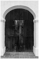 Door, El Presidio de Santa Barbara. Santa Barbara, California, USA ( black and white)