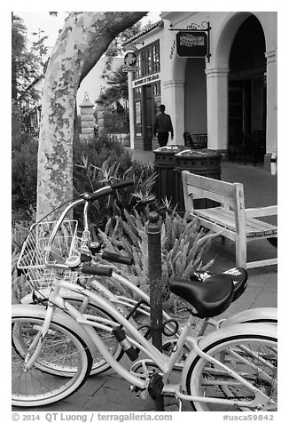 Bicycle on sidewalk. Santa Barbara, California, USA (black and white)