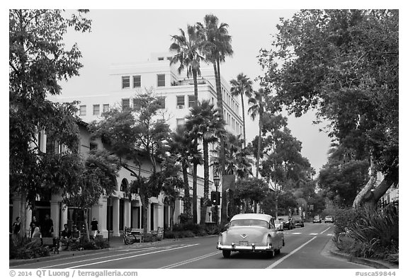 State Street on cloudy day. Santa Barbara, California, USA (black and white)