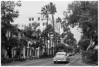 State Street on cloudy day. Santa Barbara, California, USA ( black and white)